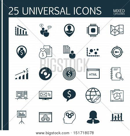 Set Of 25 Universal Icons On Employee Location, Money Navigation, Coding And More Topics. Vector Ico