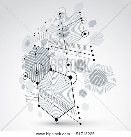 3d vector Bauhaus abstract background made with grid and overlapping geometric elements circles and honeycombs. Retro artwork technology style monochrome graphic template for advertising poster.