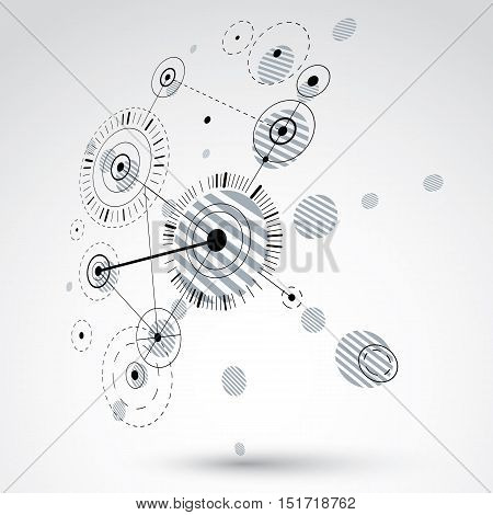 3d vector abstract monochrome background created in Bauhaus retro style. Dimensional modern geometric composition can be used as templates and layouts.