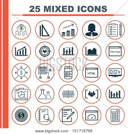 Set Of 25 Universal Icons On Measurement, Investment, Collaborative Solution And More Topics. Vector