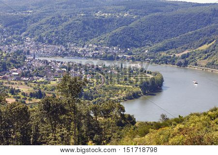 RHEINTAL, GERMANY - AUGUST 07: View from Jakobsberg on water transport artery Rhein in background nationally recognized tourist place Boppard Rheintal Germany on August 07 2016