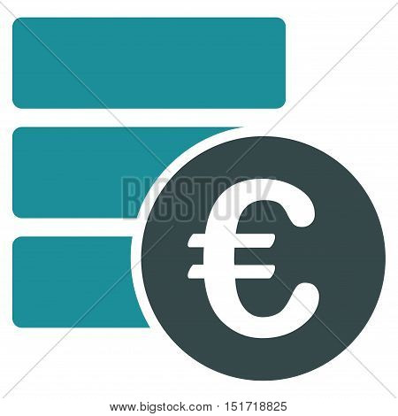 Euro Database icon. Vector style is bicolor flat iconic symbol, soft blue colors, white background.