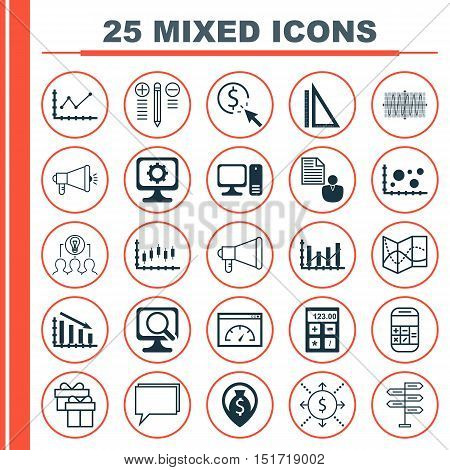 Set Of 25 Universal Icons On Desktop Computer, Calculation, Money And More Topics. Vector Icon Set I