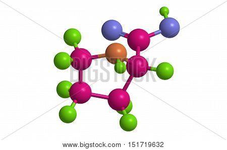 Molecular structure of L - proline (important amino acid) 3D rendering