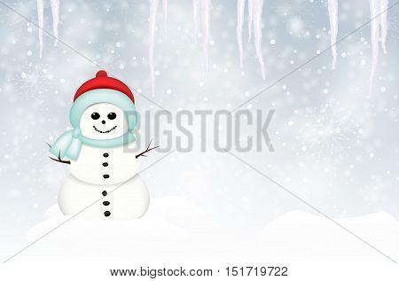 Smiling snowman in winter landscape with snow snowflakes and icicles - vector illustration