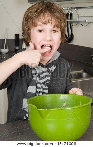 Boy Eating Dough