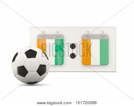 Flag Of Cote D Ivoire, Football With Scoreboard