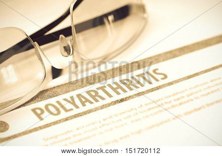Diagnosis - Polyarthritis. Medicine Concept with Blurred Text and Glasses on Red Background. Selective Focus. 3D Rendering.