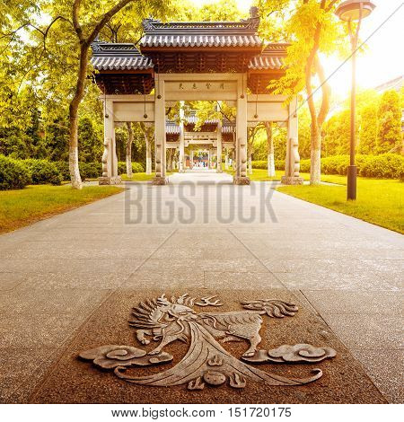 traditional memorial arch in west lakefronthangzhou China