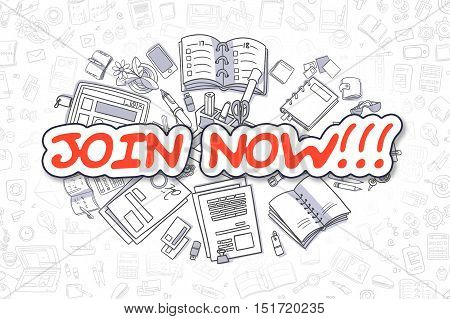 Join Now - Sketch Business Illustration. Red Hand Drawn Word Join Now Surrounded by Stationery. Cartoon Design Elements.