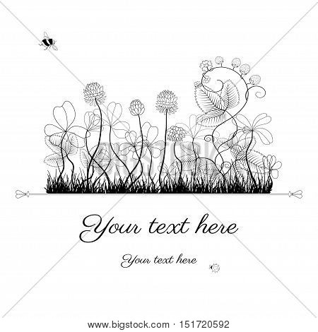 Card in black and white. Theme of nature. Colors are easily editable. Place for your text box. Perfect for greetings, invitations or announcements.