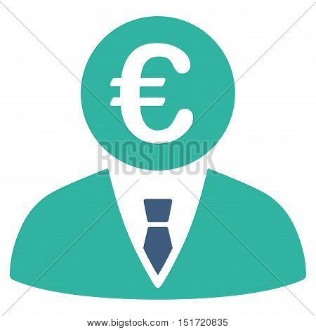 Euro Clerk icon. Vector style is bicolor flat iconic symbol, cobalt and cyan colors, white background.