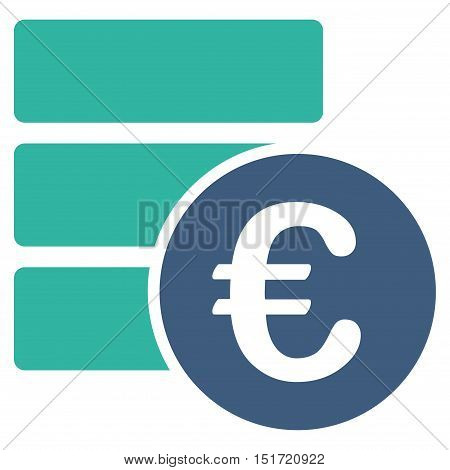 Euro Database icon. Vector style is bicolor flat iconic symbol, cobalt and cyan colors, white background.