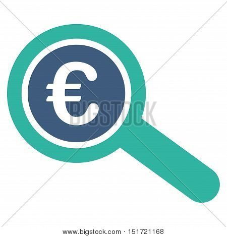 Euro Financial Audit icon. Vector style is bicolor flat iconic symbol, cobalt and cyan colors, white background.