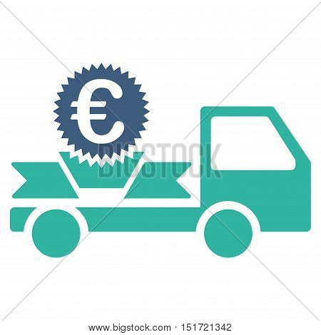 Euro Gift Delivery icon. Vector style is bicolor flat iconic symbol, cobalt and cyan colors, white background.