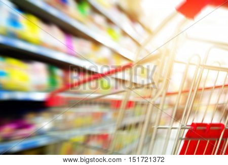 Supermarket shopping carts and shelves filled with merchandise