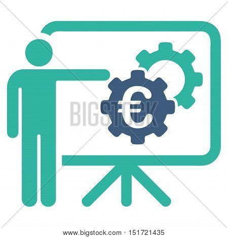 Euro Industrial Project Presentation icon. Vector style is bicolor flat iconic symbol, cobalt and cyan colors, white background.