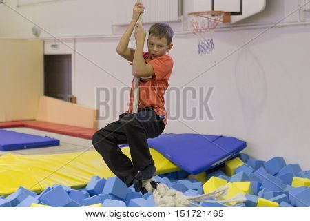 Minsk, Belarus - October 10, 2016: Trampoline Ride Indoors. Family Entertainment.