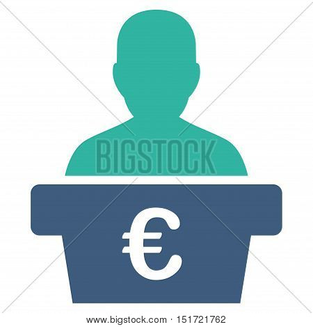 Euro Politician icon. Vector style is bicolor flat iconic symbol, cobalt and cyan colors, white background.