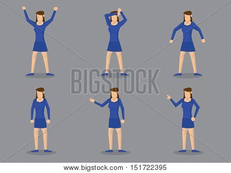 Vector illustration of young girl in blue body fitting short dress and matching blue shoes in different gestures. Vector character isolated on grey background.