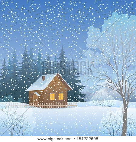 Winter Forest Christmas Landscape, Country House and Trees on Snowy Edge. Vector