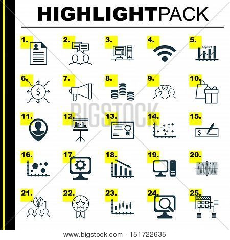 Set Of 25 Universal Icons On Schedule, Stock Market, Keyword Optimisation And More Topics. Vector Ic