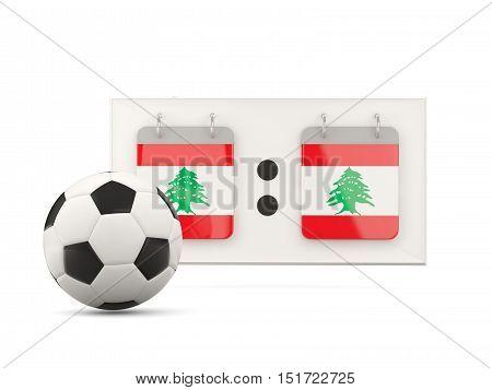 Flag Of Lebanon, Football With Scoreboard
