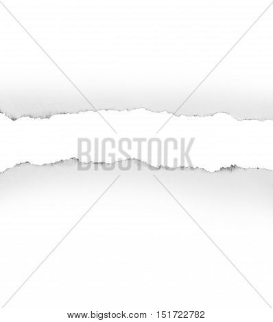 Hole and Torn paper, isolated on white background.