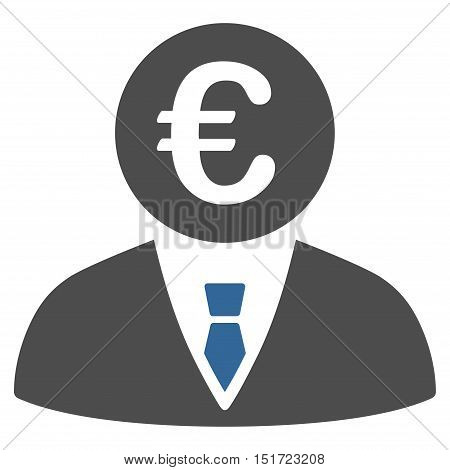 Euro Clerk icon. Vector style is bicolor flat iconic symbol, cobalt and gray colors, white background.