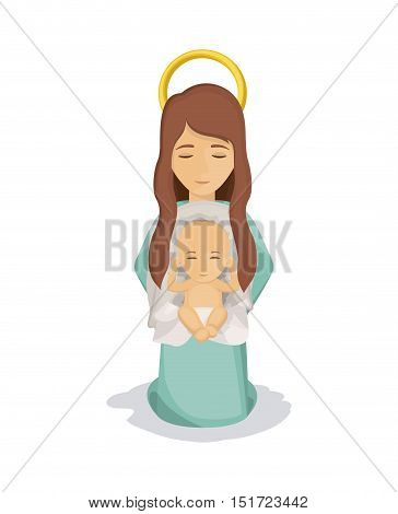 Mary and baby jesus con. Holy family and merry christmas season theme. Colorful design. Vector illustration