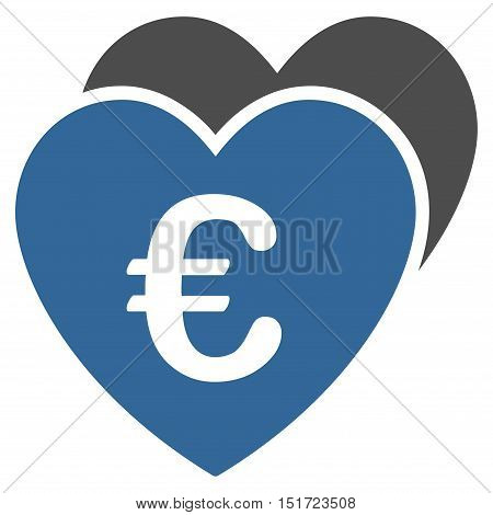 Euro Favorites Hearts icon. Vector style is bicolor flat iconic symbol, cobalt and gray colors, white background.