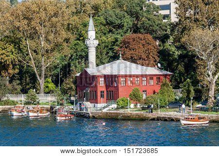 red mosque on Bosphorus in Istambul Turkey