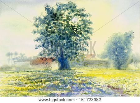 Watercolor landscape original painting colorful of morning sun and field emotion in blue background