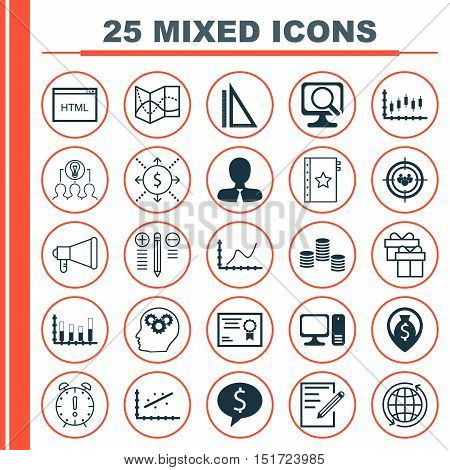 Set Of 25 Universal Icons On Stock Market, Focus Group, Business Deal And More Topics. Vector Icon S