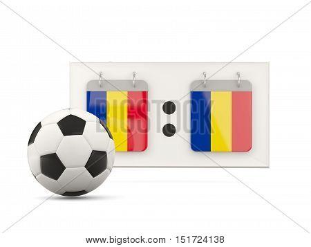 Flag Of Romania, Football With Scoreboard