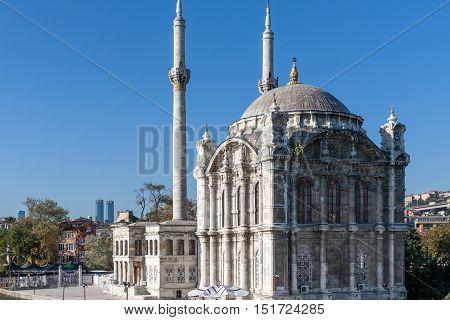 Ortakoy Mosque on Bosphorus in Istambul Turkey