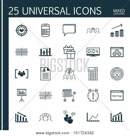 Set Of 25 Universal Icons On Present, Fail Graph, Conference And More Topics. Vector Icon Set Includ