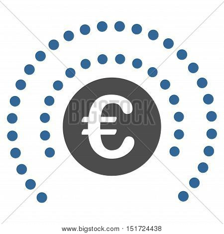Euro Shield Sphere icon. Vector style is bicolor flat iconic symbol, cobalt and gray colors, white background.
