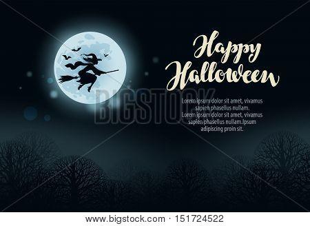Happy Halloween. Witch flies on broomstick in dark forest