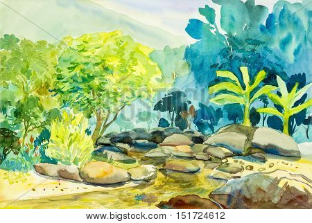 Watercolor landscape original painting colorful of mountain and river emotion in blue background