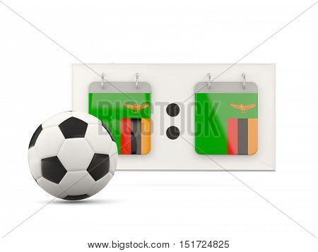 Flag Of Zambia, Football With Scoreboard