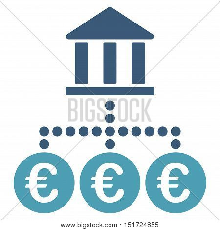 Euro Bank Transactions icon. Vector style is bicolor flat iconic symbol, cyan and blue colors, white background.