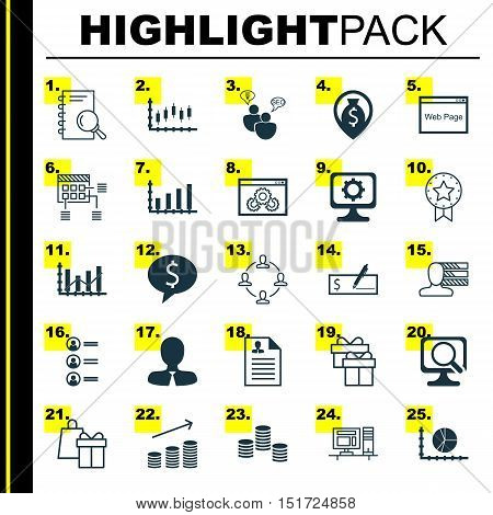 Set Of 25 Universal Icons On Money, Shopping, Dynamics And More Topics. Vector Icon Set Including An