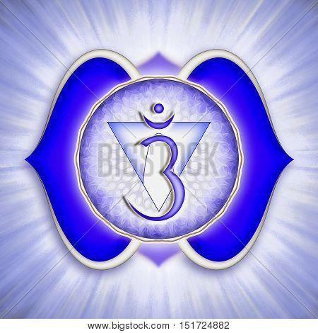 Illustration of a chakra symbol. Brow chakra ajna.