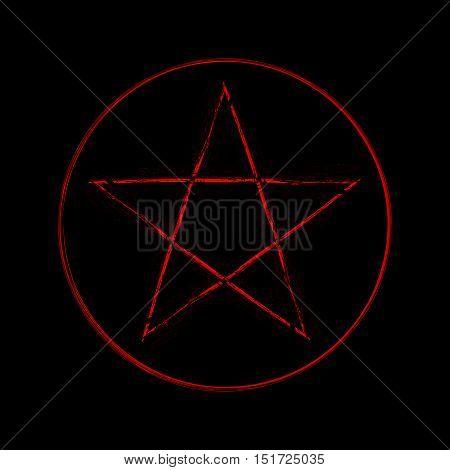 Illustration of a mystic magic pentagram symbol.