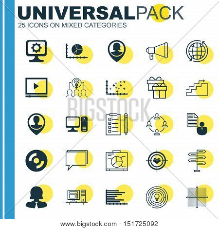 Set Of 25 Universal Icons On Employee Location, Desktop Computer, Focus Group And More Topics. Vecto