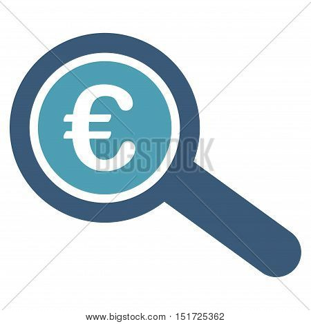 Euro Financial Audit icon. Vector style is bicolor flat iconic symbol, cyan and blue colors, white background.