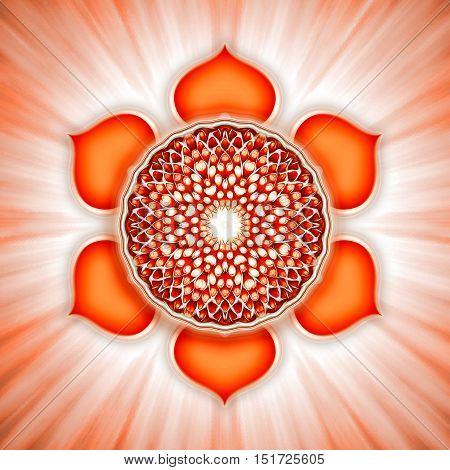 Illustration of a chakra symbol. Sacral chakra svadhisthana.