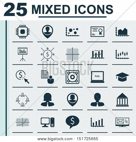 Set Of 25 Universal Icons On Report, Dynamics, Business Woman And More Topics. Vector Icon Set Inclu