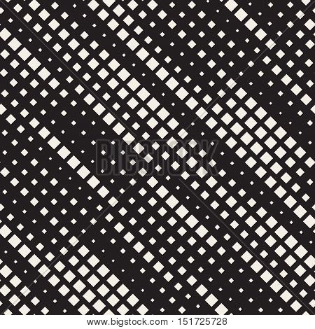Vector Seamless Black And White Diagonal Lines Halftone Rhombus Pattern. Abstract Geometric Background Design